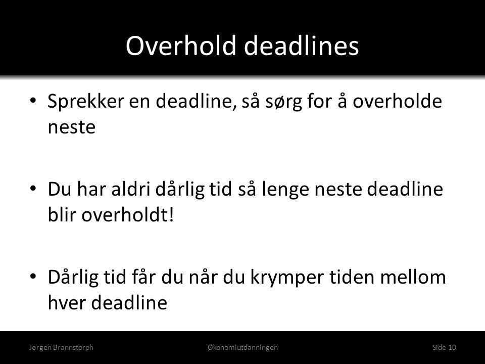 Overhold deadlines Sprekker en deadline, så sørg for å overholde neste