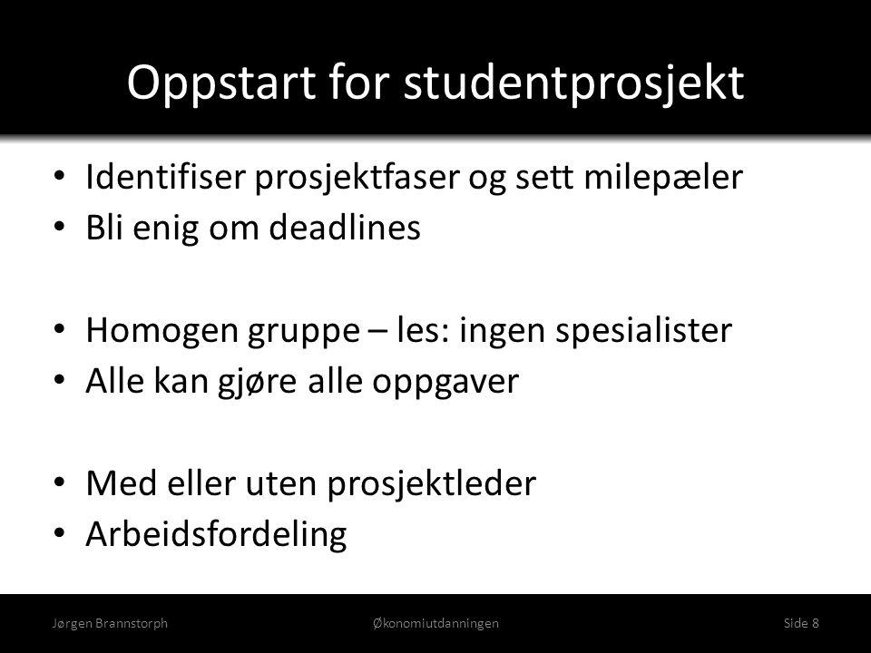 Oppstart for studentprosjekt