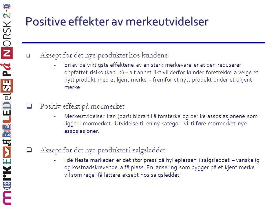 Positive effekter av merkeutvidelser