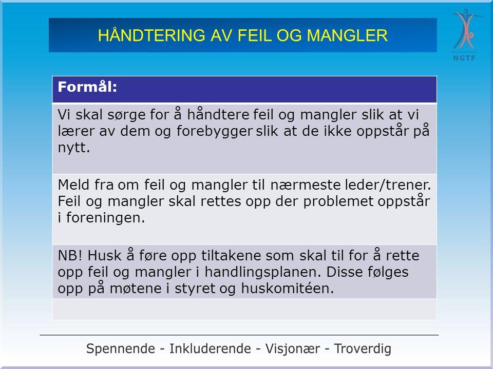 HÅNDTERING AV FEIL OG MANGLER