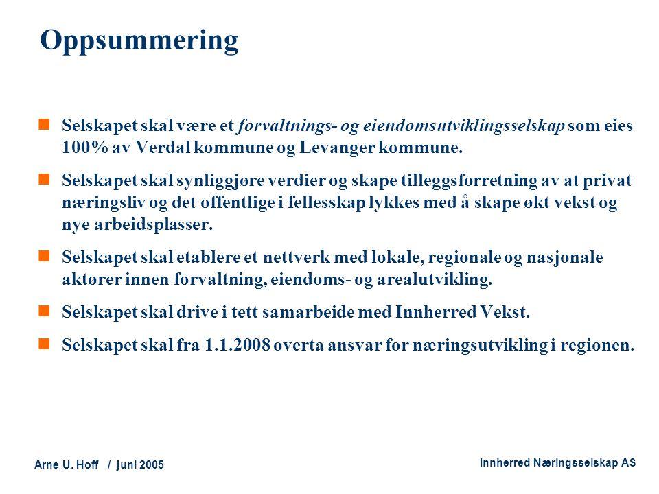 Oppsummering Selskapet skal være et forvaltnings- og eiendomsutviklingsselskap som eies 100% av Verdal kommune og Levanger kommune.