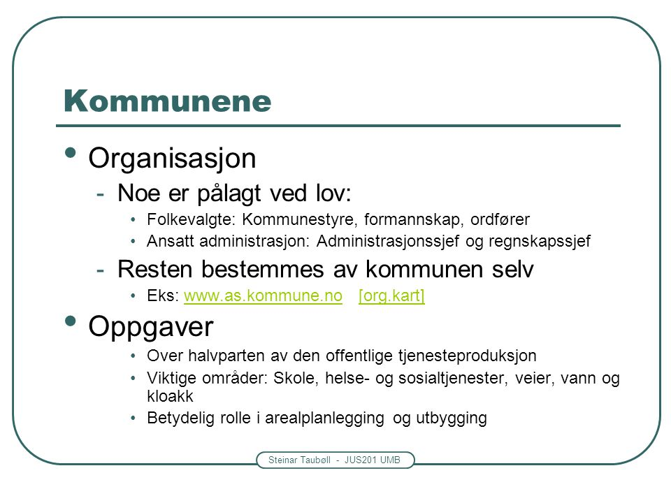 Kommunene Organisasjon Oppgaver Noe er pålagt ved lov: