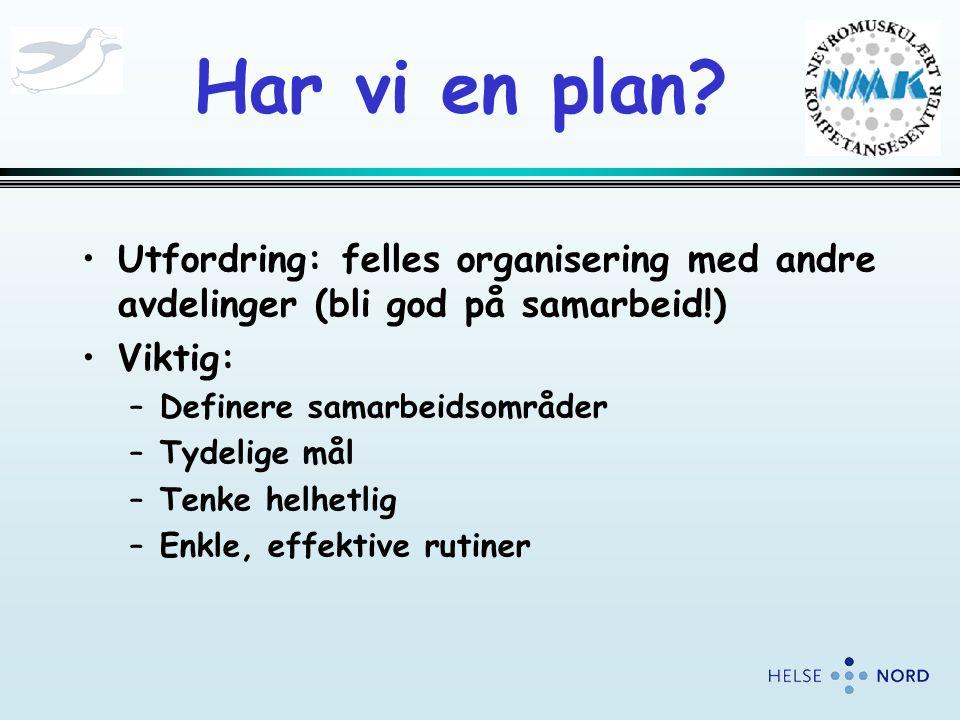 Har vi en plan Utfordring: felles organisering med andre avdelinger (bli god på samarbeid!) Viktig: