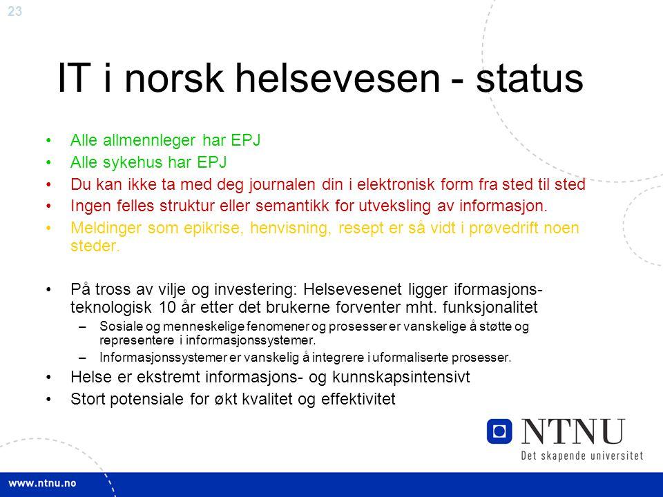 IT i norsk helsevesen - status