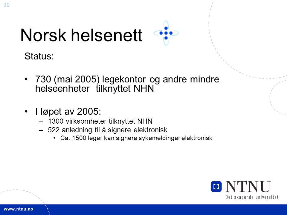 Norsk helsenett Status:
