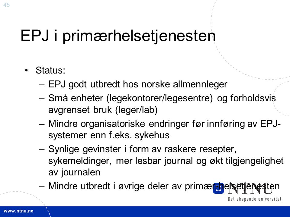 EPJ i primærhelsetjenesten