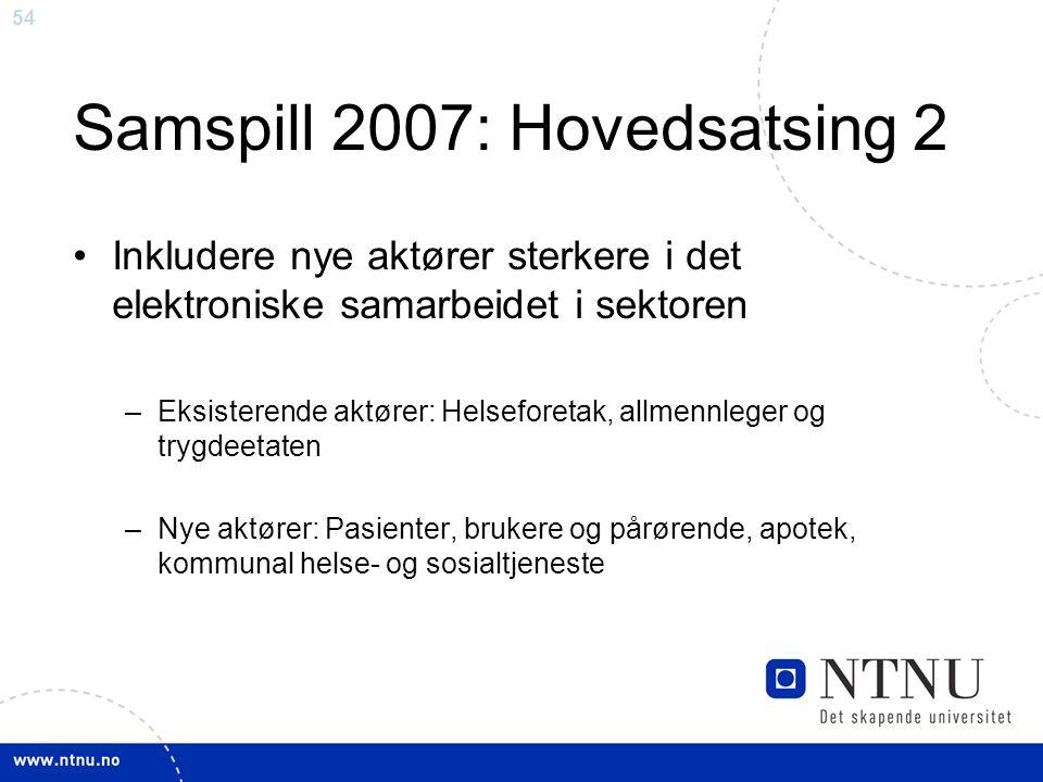 Samspill 2007: Hovedsatsing 2