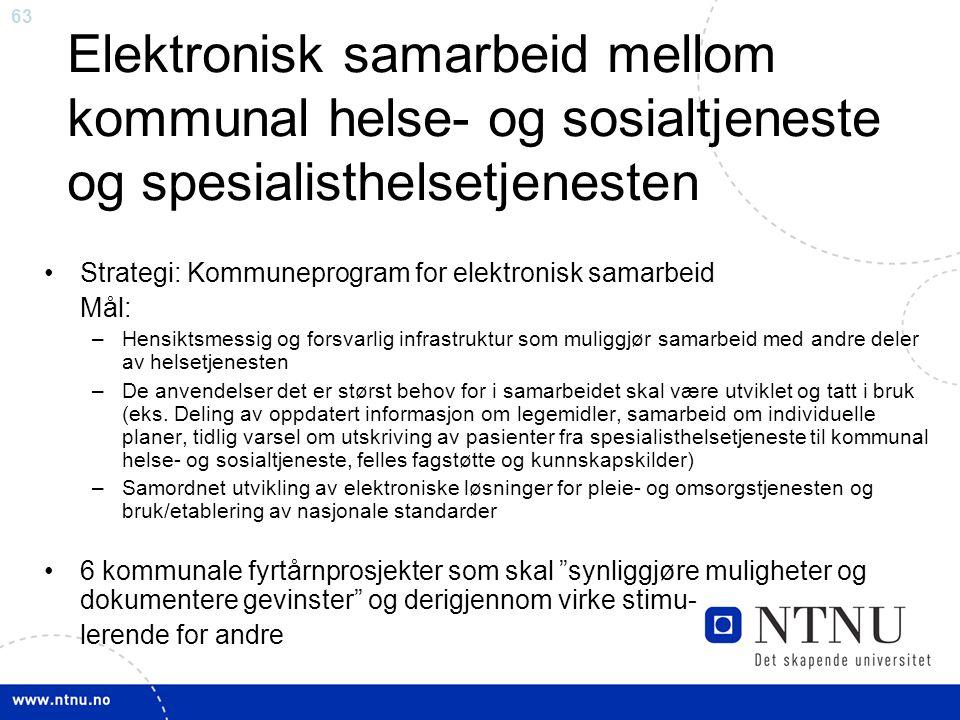 Elektronisk samarbeid mellom kommunal helse- og sosialtjeneste og spesialisthelsetjenesten