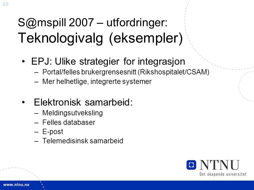 S@mspill 2007 – utfordringer: Teknologivalg (eksempler)