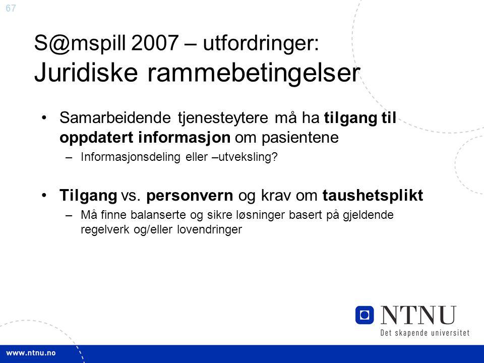 S@mspill 2007 – utfordringer: Juridiske rammebetingelser