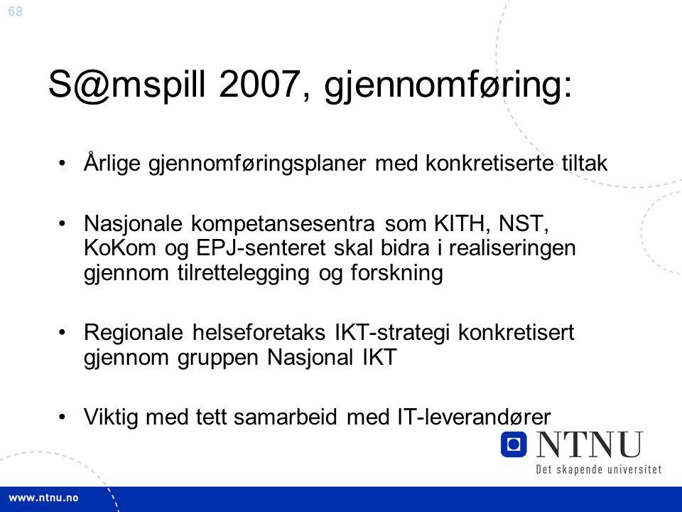 S@mspill 2007, gjennomføring: