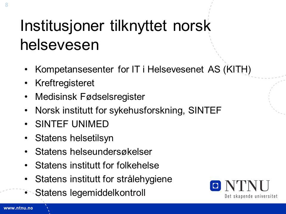 Institusjoner tilknyttet norsk helsevesen