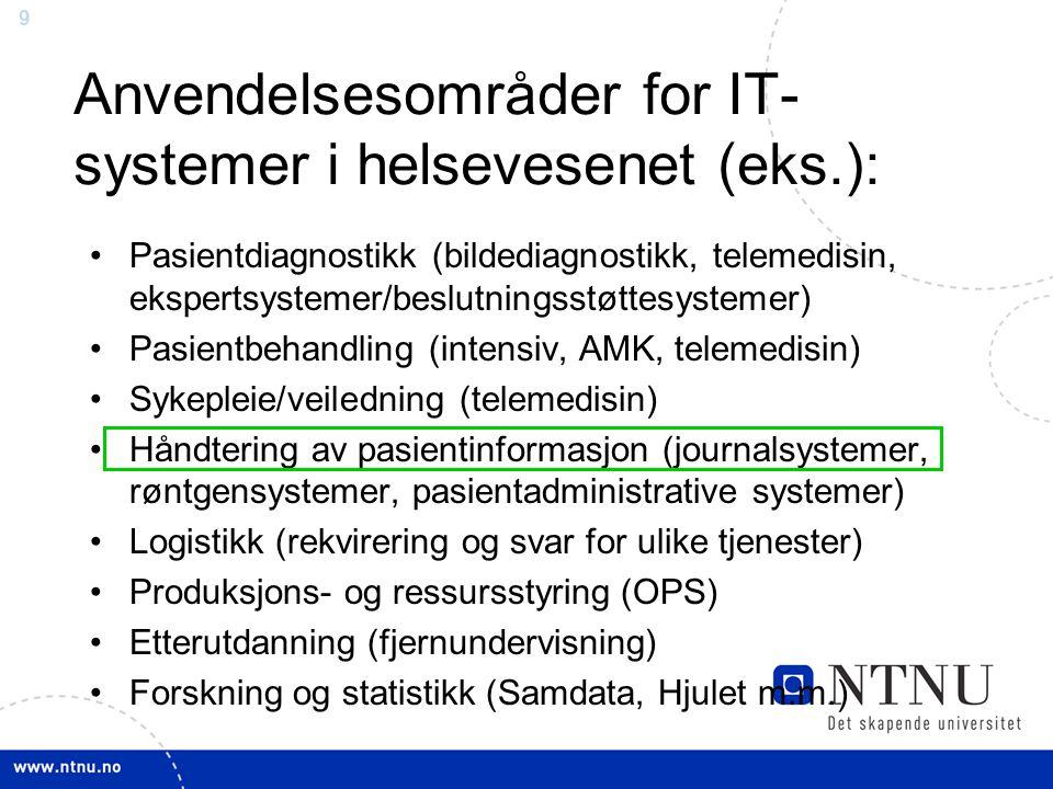 Anvendelsesområder for IT-systemer i helsevesenet (eks.):