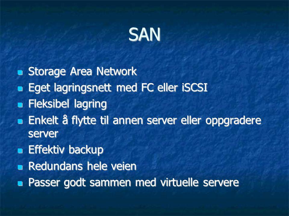 SAN Storage Area Network Eget lagringsnett med FC eller iSCSI