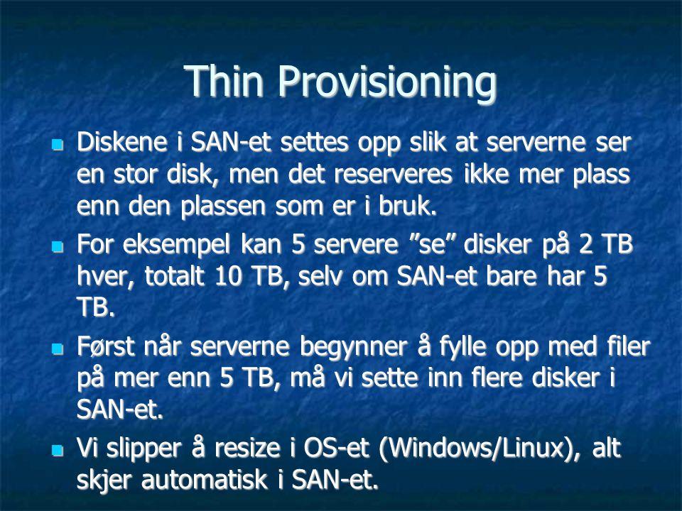 Thin Provisioning Diskene i SAN-et settes opp slik at serverne ser en stor disk, men det reserveres ikke mer plass enn den plassen som er i bruk.