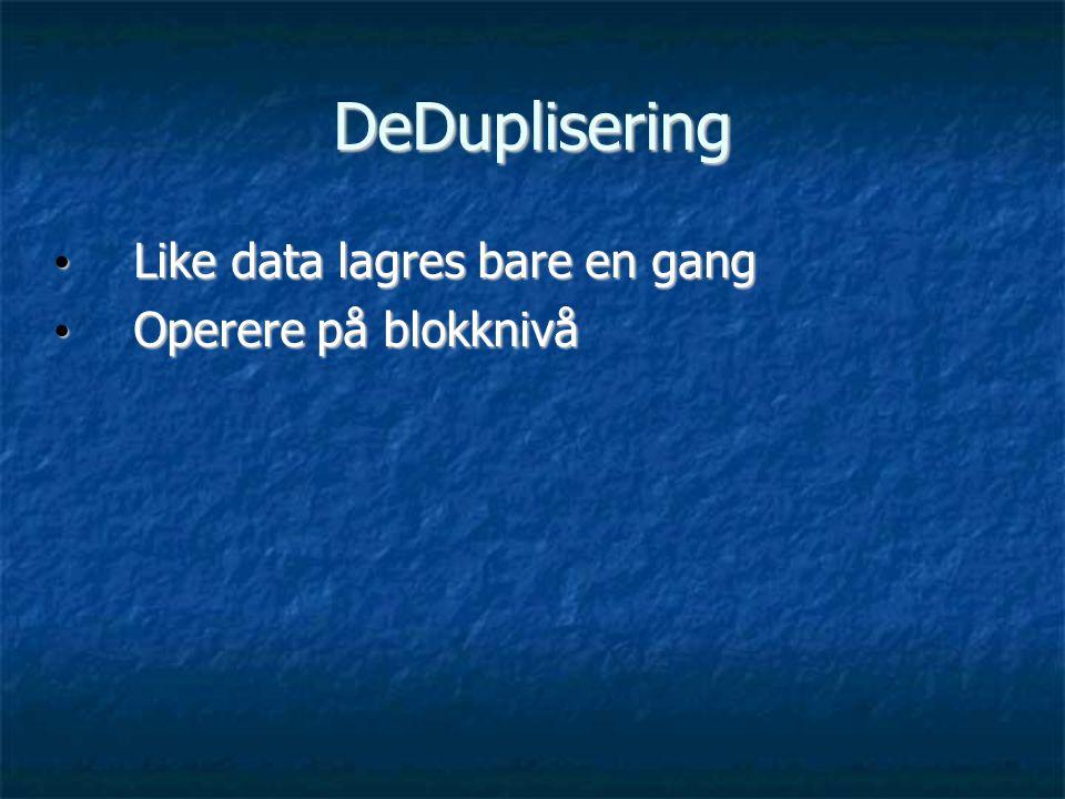 DeDuplisering Like data lagres bare en gang Operere på blokknivå