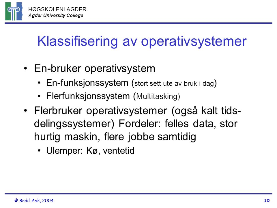 Klassifisering av operativsystemer