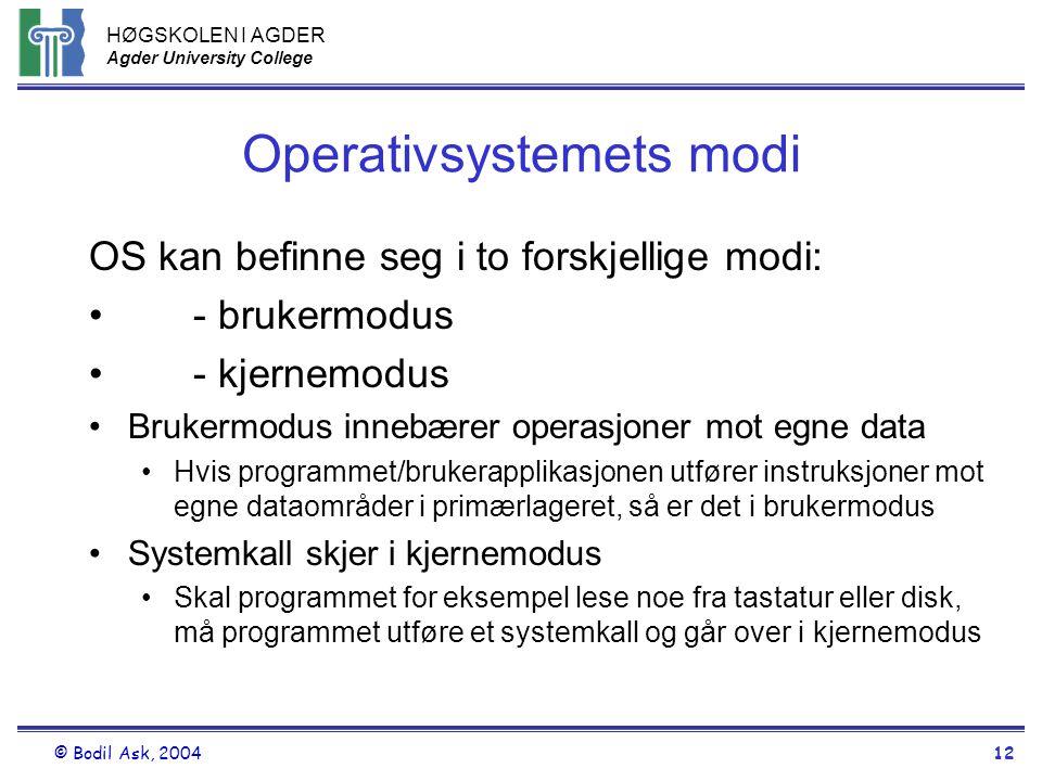 Operativsystemets modi
