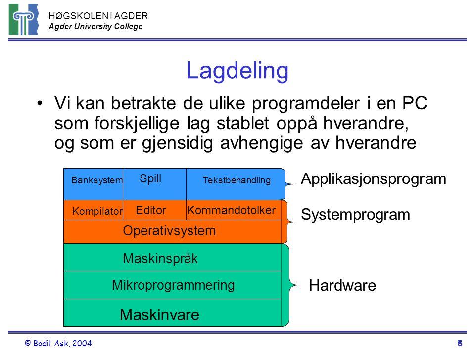Lagdeling Vi kan betrakte de ulike programdeler i en PC som forskjellige lag stablet oppå hverandre, og som er gjensidig avhengige av hverandre.