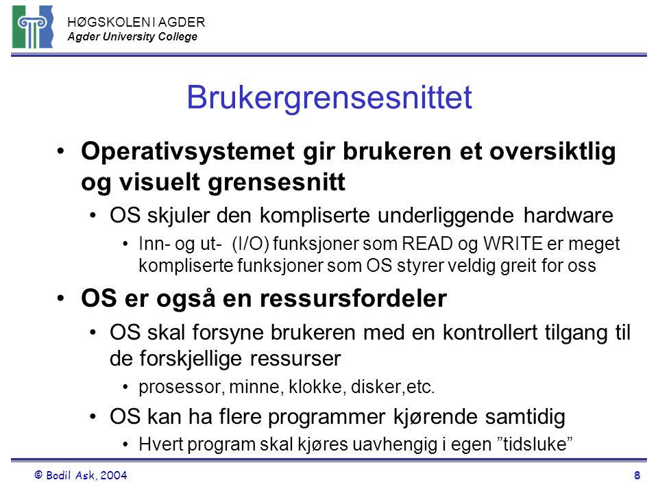 Brukergrensesnittet Operativsystemet gir brukeren et oversiktlig og visuelt grensesnitt. OS skjuler den kompliserte underliggende hardware.