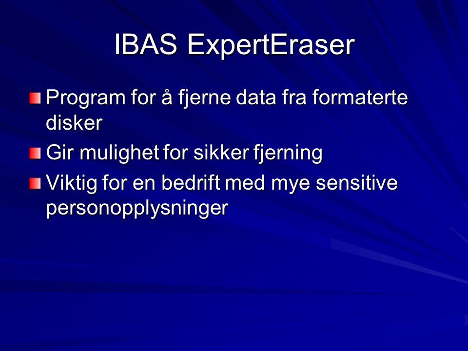 IBAS ExpertEraser Program for å fjerne data fra formaterte disker