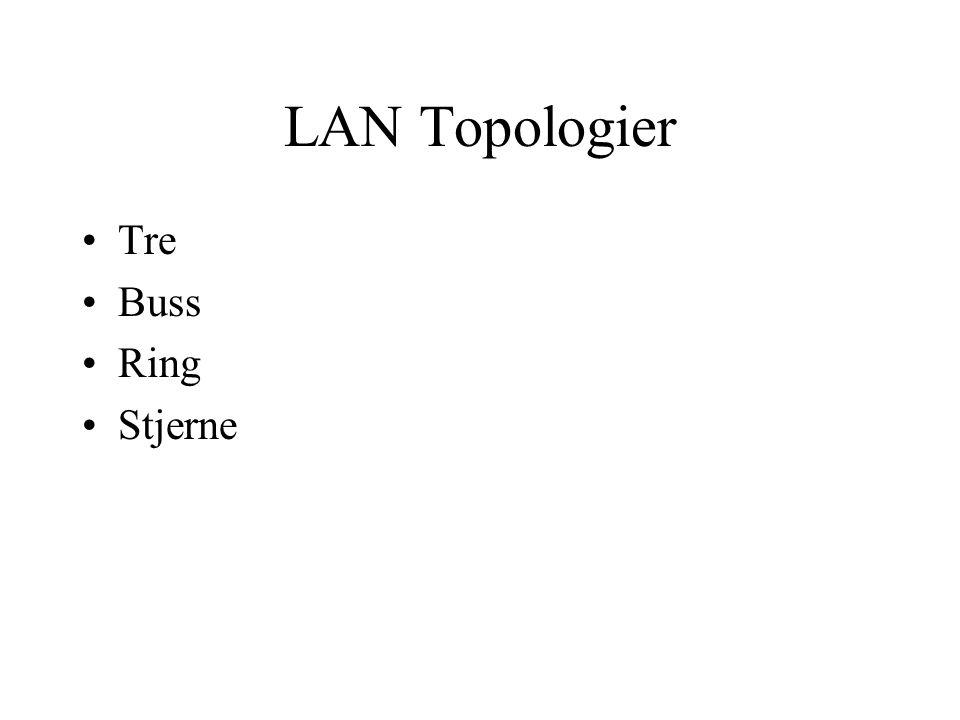 LAN Topologier Tre Buss Ring Stjerne