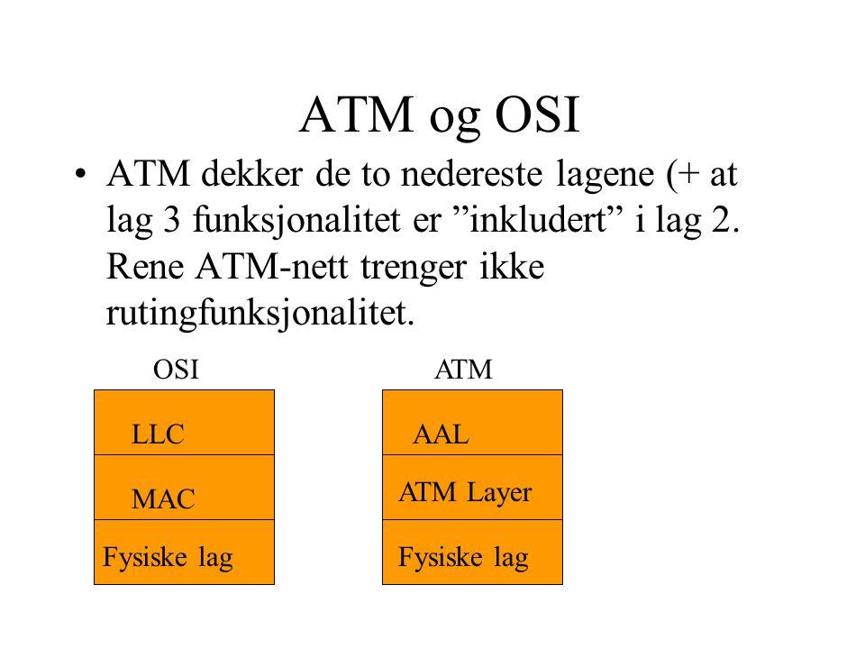 ATM og OSI ATM dekker de to nedereste lagene (+ at lag 3 funksjonalitet er inkludert i lag 2. Rene ATM-nett trenger ikke rutingfunksjonalitet.