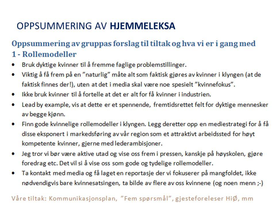 OPPSUMMERING AV HJEMMELEKSA