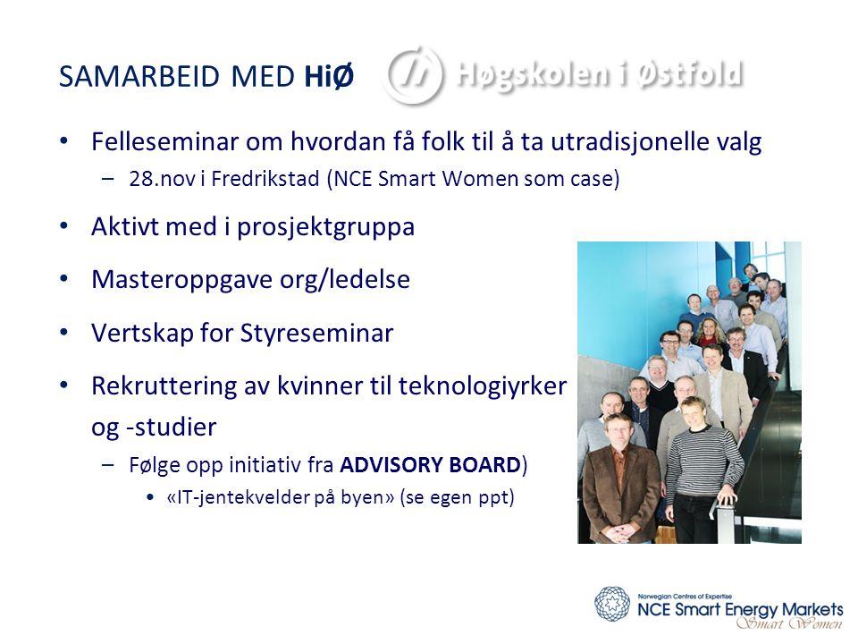 SAMARBEID MED HiØ Felleseminar om hvordan få folk til å ta utradisjonelle valg. 28.nov i Fredrikstad (NCE Smart Women som case)