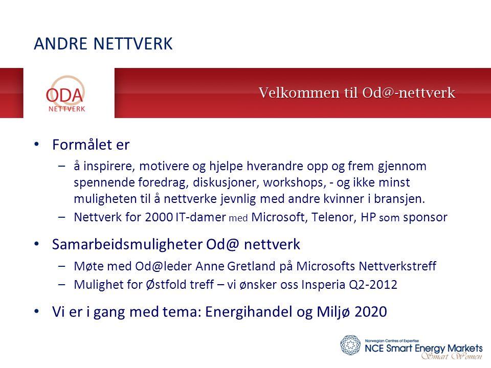 ANDRE NETTVERK Formålet er Samarbeidsmuligheter Od@ nettverk
