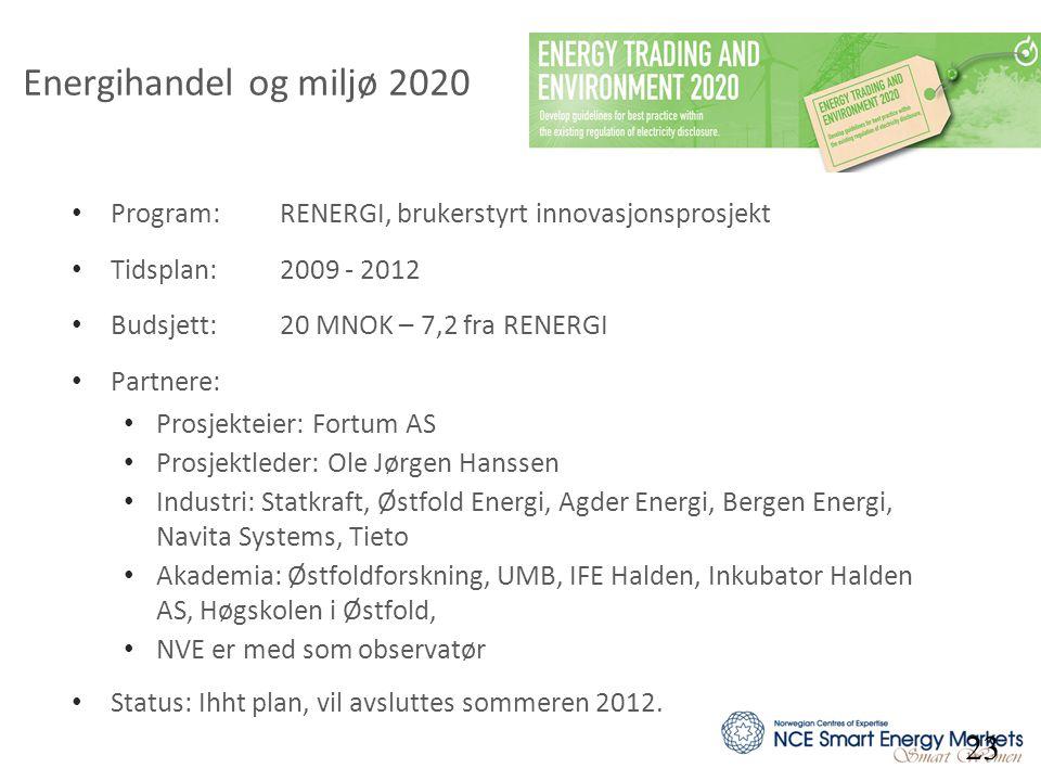 Energihandel og miljø 2020 Program: RENERGI, brukerstyrt innovasjonsprosjekt. Tidsplan: 2009 - 2012.