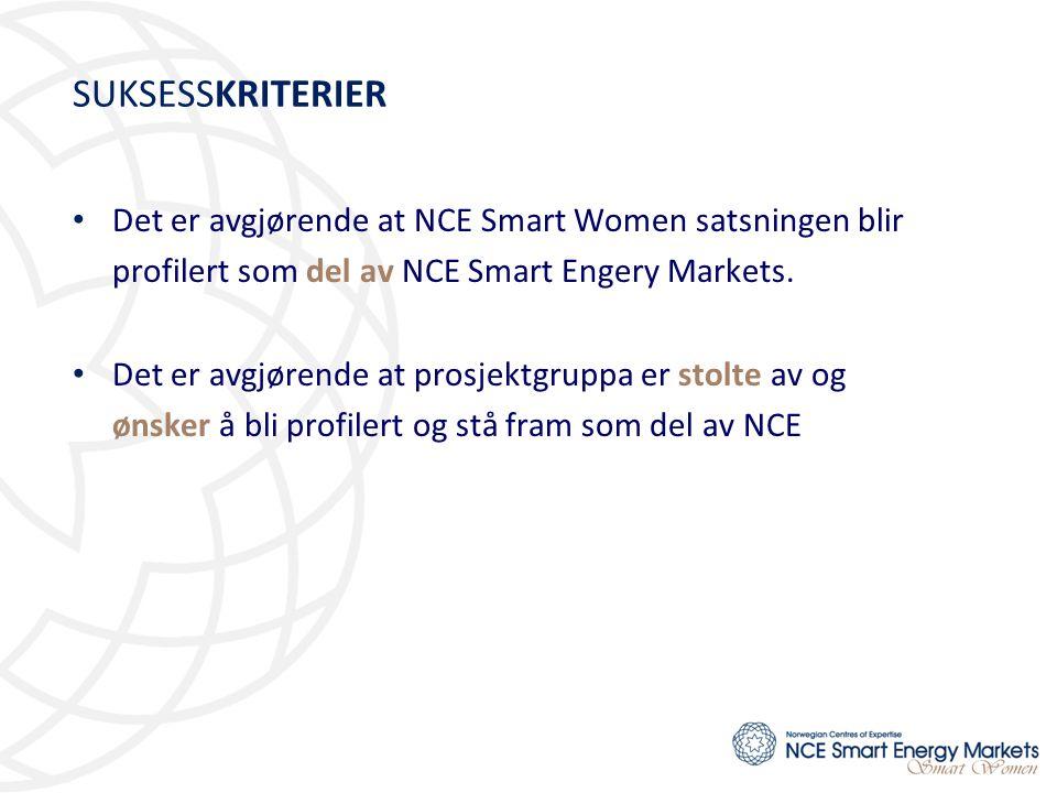SUKSESSKRITERIER Det er avgjørende at NCE Smart Women satsningen blir profilert som del av NCE Smart Engery Markets.