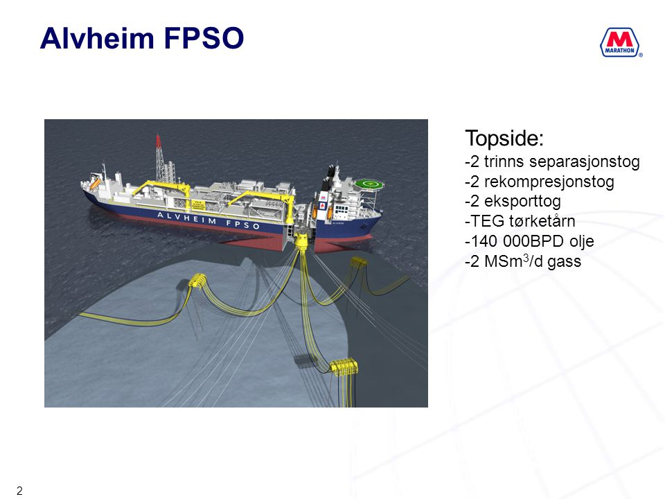 Alvheim FPSO Topside: 2 trinns separasjonstog 2 rekompresjonstog