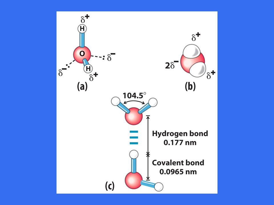 Vannmolekylets struktur: dipol, tetrahedrisk konformasjon for de fire bindinger