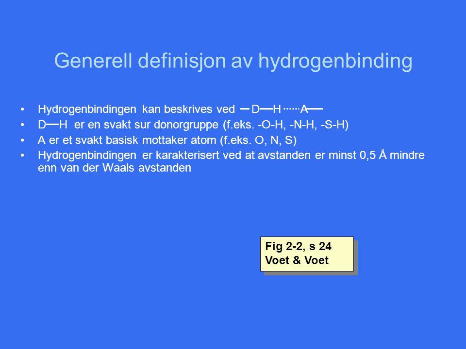 Generell definisjon av hydrogenbinding
