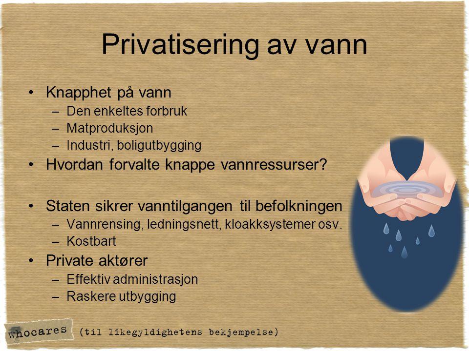 Privatisering av vann Knapphet på vann