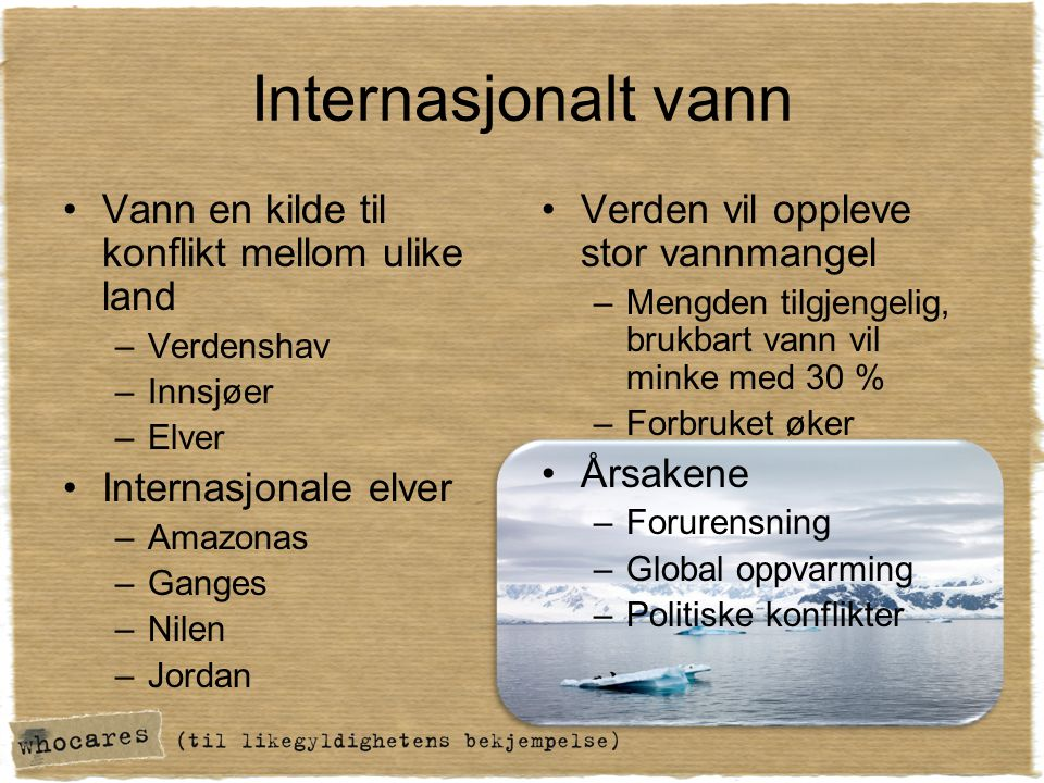 Internasjonalt vann Vann en kilde til konflikt mellom ulike land