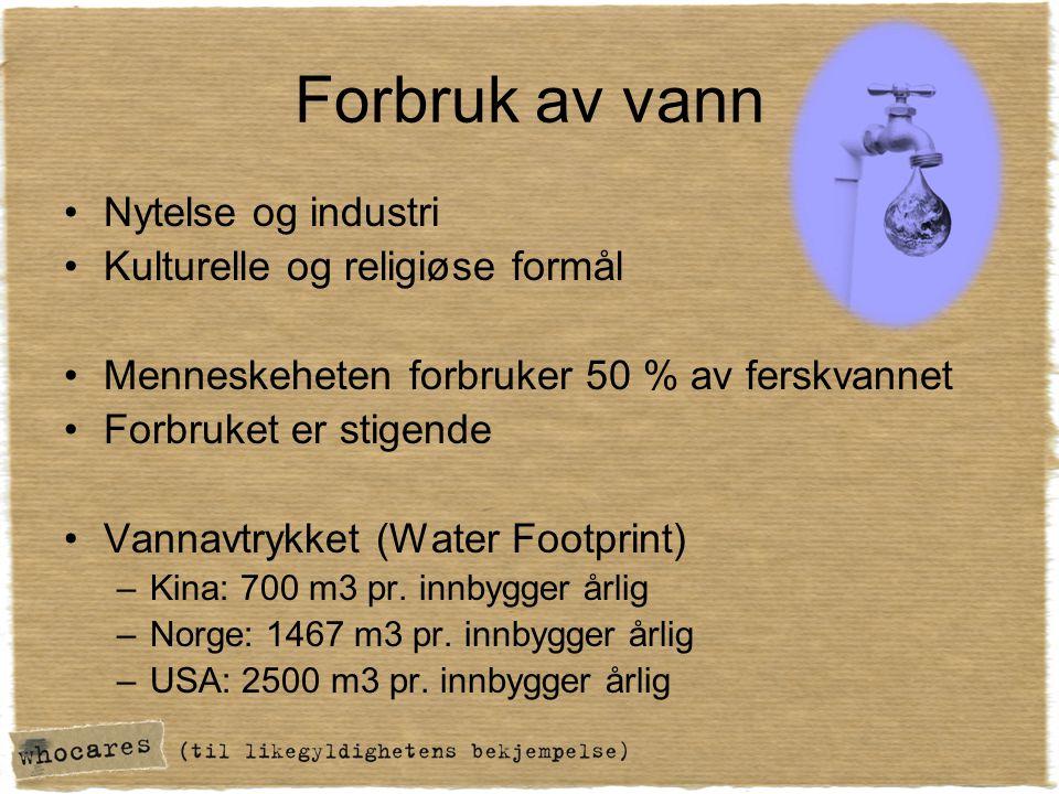 Forbruk av vann Nytelse og industri Kulturelle og religiøse formål