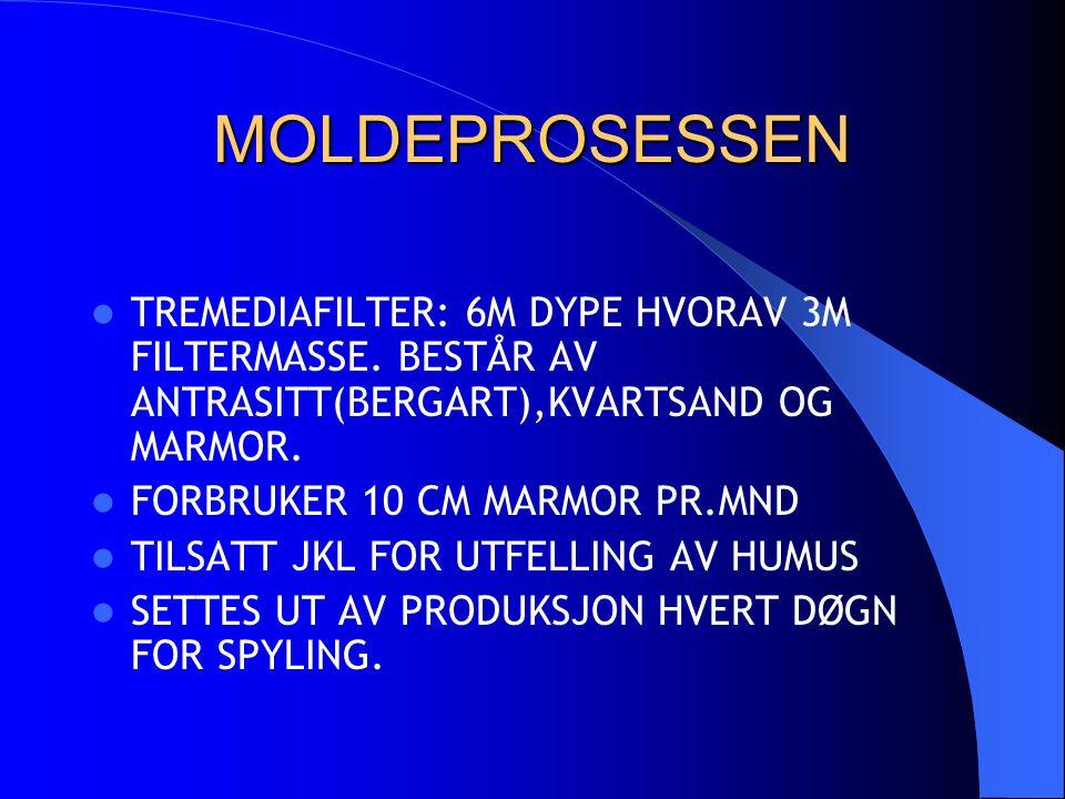 MOLDEPROSESSEN TREMEDIAFILTER: 6M DYPE HVORAV 3M FILTERMASSE. BESTÅR AV ANTRASITT(BERGART),KVARTSAND OG MARMOR.