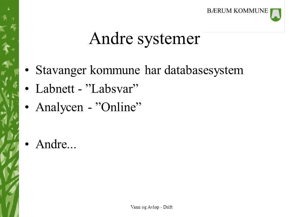 Andre systemer Stavanger kommune har databasesystem