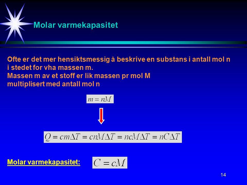 Molar varmekapasitet Ofte er det mer hensiktsmessig å beskrive en substans i antall mol n. i stedet for vha massen m.