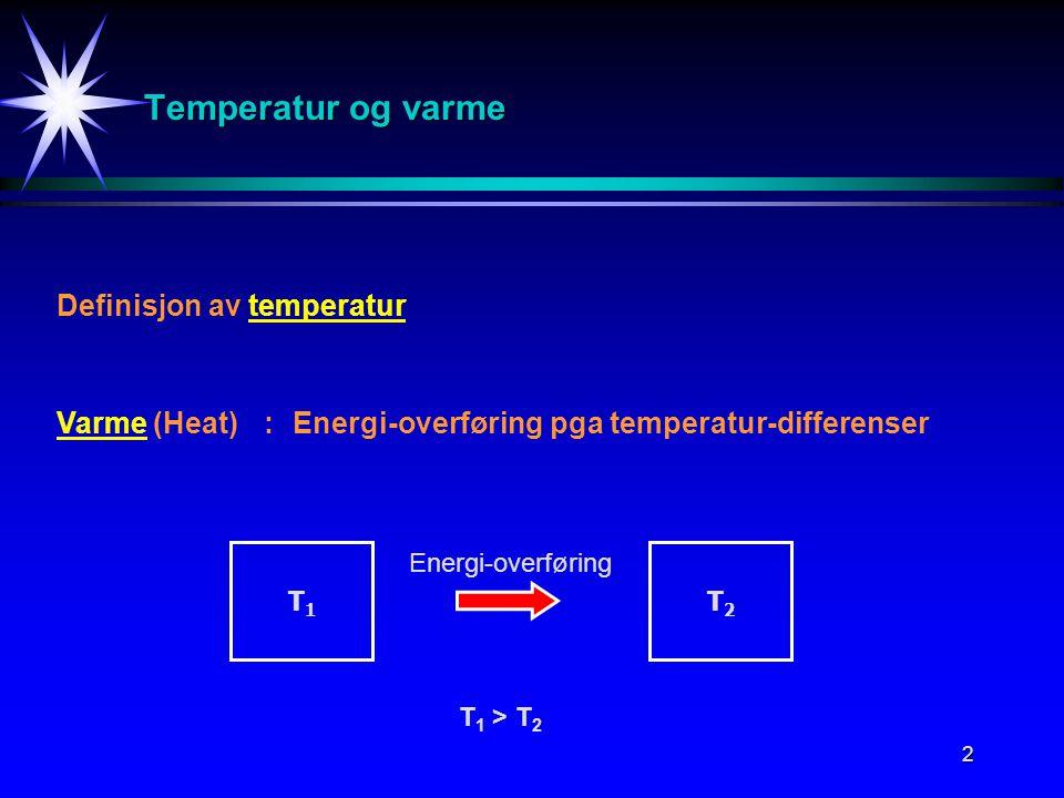 Temperatur og varme Definisjon av temperatur