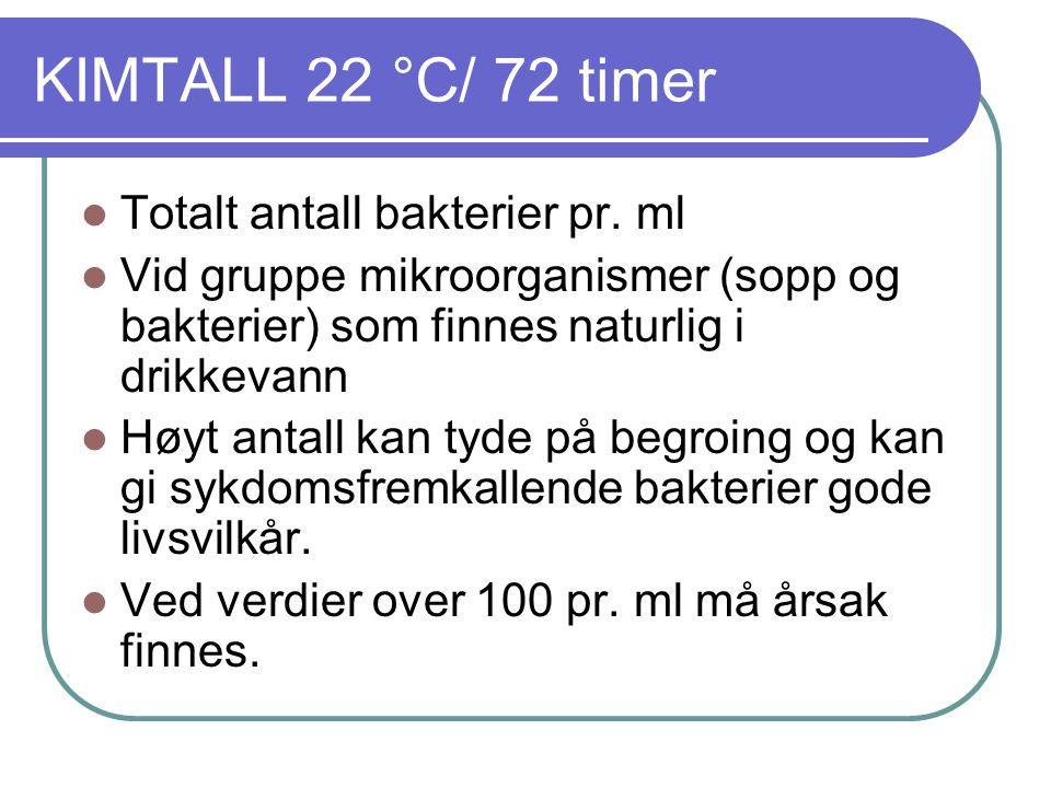 KIMTALL 22 °C/ 72 timer Totalt antall bakterier pr. ml