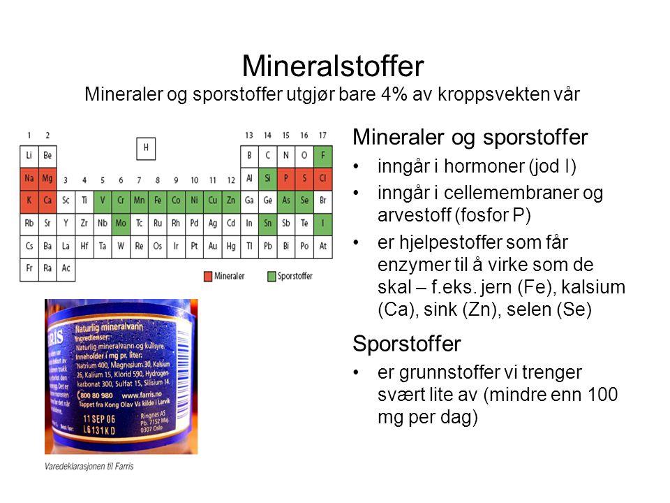 Mineralstoffer Mineraler og sporstoffer utgjør bare 4% av kroppsvekten vår