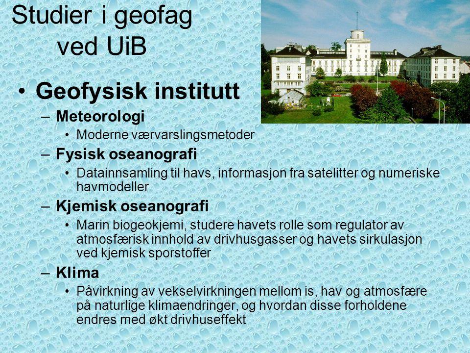 Studier i geofag ved UiB