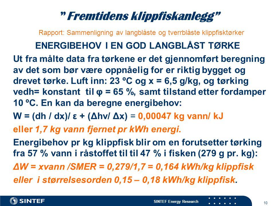 ENERGIBEHOV I EN GOD LANGBLÅST TØRKE
