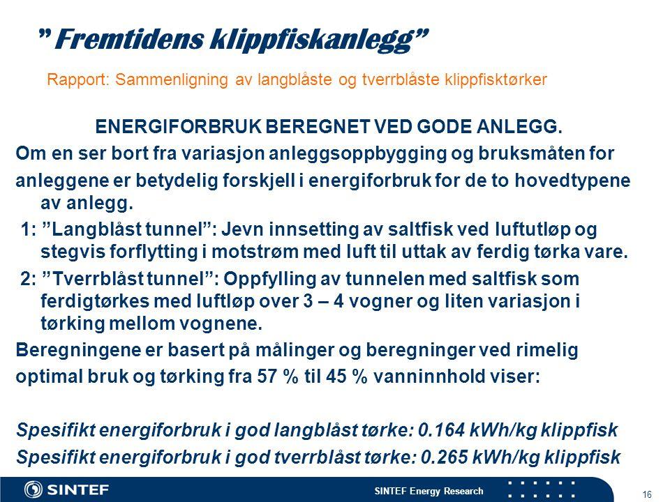 ENERGIFORBRUK BEREGNET VED GODE ANLEGG.