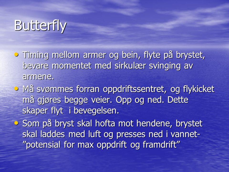 Butterfly Timing mellom armer og bein, flyte på brystet, bevare momentet med sirkulær svinging av armene.