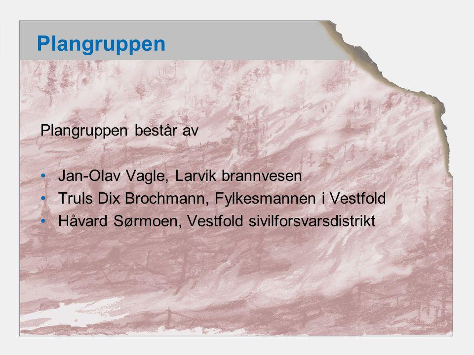 Plangruppen Plangruppen består av Jan-Olav Vagle, Larvik brannvesen