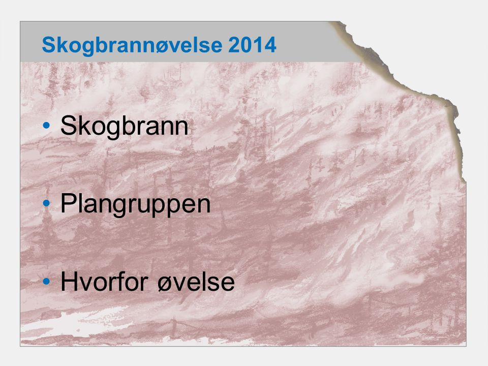 Skogbrannøvelse 2014 Skogbrann Plangruppen Hvorfor øvelse